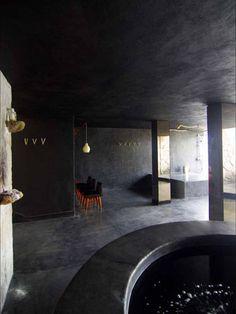 Hotel Boca Chica [Acapulco, Mexico] Dark Interiors, Hotel Interiors, Spas, Spa Interior, Dark Bathrooms, Indoor Pools, Best Spa, Hospitality Design, Villas