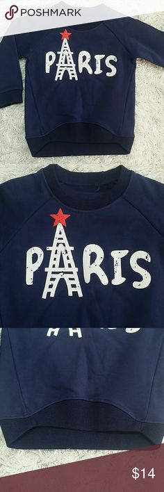 SALE. Paris Sweatshirt in Navy Blue.  4T. Adorable Navy blue sweatshirt with Paris design.  Fits 3T - 4T  Very cute item  This item is brand new and never used. No tags. Shirts & Tops Sweatshirts & Hoodies