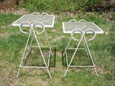 Vintage Set Wrought Iron U0026 Wire Mesh Metal Nesting Tables Patio Stands  Salterini