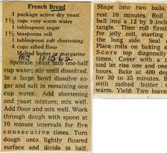 French Bread. :: Historic Recipe Retro Recipes, Old Recipes, Vintage Recipes, Bread Recipes, Cooking Recipes, Italian Recipes, Depression Era Recipes, Bread Shaping, Old Fashioned Recipes