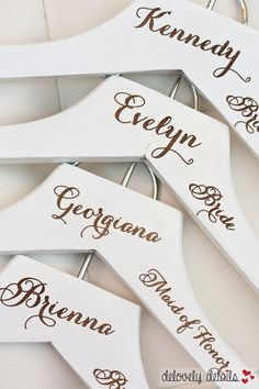 Personalized White Wedding Dress Hangers with Wedding Party Title Arm Inscription - Engraved Wood - by delovely details