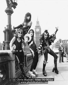 #Kiss 1976 Peter Criss, Paul Stanley, Ace Frehley and Gene Simmons in London - Chris Walter #Music