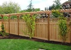 love the lattice over top of privacy fence and pergola-type topper. Do this along the back fence to shield from neighbors. Add climbing plants/vines to add more privacy above the fence where the pergola is. Privacy Fence Designs, Privacy Landscaping, Backyard Privacy, Privacy Fences, Backyard Fences, Garden Fencing, Landscaping Ideas, Balcony Privacy, Pool Fence