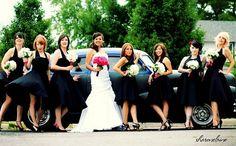 Christine & Greg's Rock 'n Roll Wedding featured bridesmaids in black Trashy Diva dresses! Read more at http://offbeatbride.com/2009/07/rock-n-roll-wedding