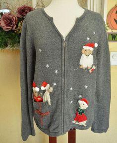 Crazy Horse Liz Claiborne Christmas Dog Sweater M Warm Cute Jeans Plus Sz #CrazyHorse #Cardigan