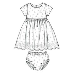 Infants' Lined Dresses, Panties and Headband. With a longer skirt this could be a pretty Christening dress. Toddler Girl Dresses, Little Girl Dresses, Toddler Outfits, Kids Outfits, Girls Dresses, Clothing Patterns, Dress Patterns, Sewing Patterns, Dress Design Drawing