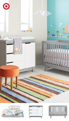Create a beautiful, modern nursery with the Babyletto Hudson 3-in-1 Crib and Dresser. Add a bright, graphic rug, bedding and wall decals—it's the perfect place for a busy, on-the-go baby to rest up for another big day.