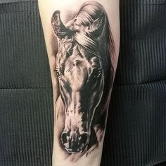Gorgeous horse tattoo by @kimmoangervaniva!