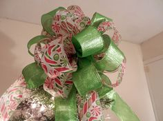 Large Christmas Tree topper bow made with a  by creativelycarole