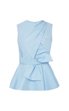 Shop Cross Draped Front Peplum Bow Blouse by Prabal Gurung for Preorder on Moda Operandi Peplum Tops, Peplum Shirts, Tight Dresses, Dresses For Work, Shift Dresses, Light Blue Blouse, Light Blue Top, Mode Top, Peplum Blouse