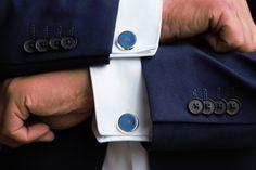 Käsityönä valmistettavia hopeisia Colors-emalikalvosinnappeja saa viidessä eri värissä miehen juhlapuvun kruunuksi, 149 e. Petra, Cufflinks, Accessories, Color, Fashion, Moda, Fashion Styles, Colour, Wedding Cufflinks