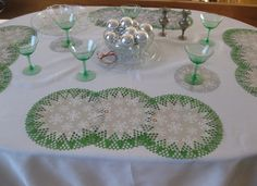 I really like Martha Stewart's Circle Edge Punch to make paper doilies. So easy to use.  I used Christmas wrapping paper to make these.
