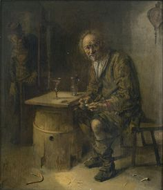 Abraham Diepraam ROTTERDAM 1622 - 1670 A MAN SEATED IN AN INTERIOR WITH A PIPE