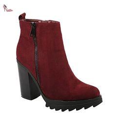 324c6805ea11 Ideal Shoes - Bottines à talon épais effet daim Elyna Rouge 41 - Chaussures ideal  shoes