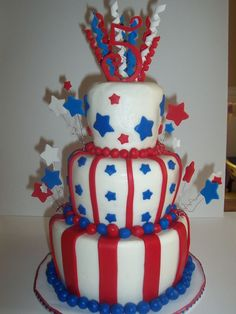 My son requested a birthday cake with the colors of the United States Flag.  He is very patriotic!  Buttercream and mmf with gumpaste accents.