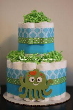 Under the Sea Diaper Cake, Boy Gender Neutral Baby Shower, Teal, Green, Baby Shower Centerpiece, Under the Sea Baby Shower