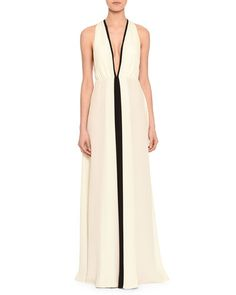 B2ZRJ Valentino Plunging Colorblock Racerback Gown