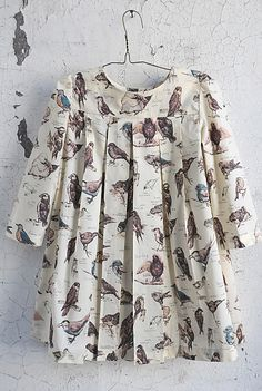 BOX PLEAT DRESS - BROWN ORNITHOLOGY via Sailor Rose / Made in USA