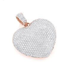 Diamant Anhänger - Herz Pavée mit 2.00 Karat Diamanten aus 585er Rosegold bei www.juwelierhausabt.de in Dortmund günstig kaufen.