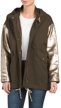 Juniors Sequin Sleeve Anorak