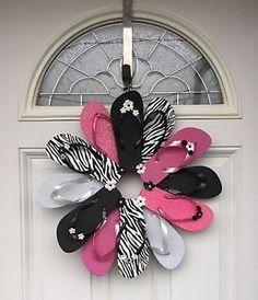 Handmade-Flip-Flop-Zebra-Wreath-Girls-Bedroom-Decor
