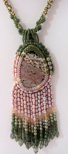 Oceana Bead Embroidered Necklace by Cathy by TheKeyingPiece