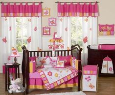 Sweet Jojo Designs Butterfly Pink and Orange Crib Bedding and Accessories