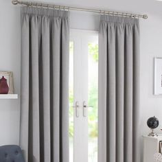 Waters and Noble Grey Solar Blackout Pencil Pleat Curtains   Dunelm