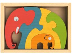 Elephant Family Chunky Wooden Puzzle-This vivid colored 6 pc 1 thick hand-crafted, hand-painted Elephant Family Wooden Puzzle is beautiful to look at as it is fun to put together! The Elephent puzzle is Hand-crafted & hand painted with child-safe pa Preschool Puzzles, Puzzles For Kids, Educational Toys For Kids, Kids Toys, Children Play, Wooden Puzzles, Jigsaw Puzzles, Fine Motor Skills Development, Wooden Elephant