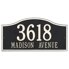 Personalized Whitehall Products Rolling Hills Grand Wall Address Plaque in Black/White