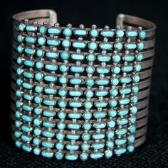 Savvy Collector » 12 Strand Silver & Turquoise Cuff by Zuni | American Indian | Zuni | Jewelry
