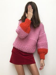 Hand knitted in New Zealand by the knitter. Sweater Dress Outfit, Pink Sweater, Cropped Sweater, Knit Dress, Jumper, Legging Outfits, Winter Looks, Knitwear, Knit Crochet