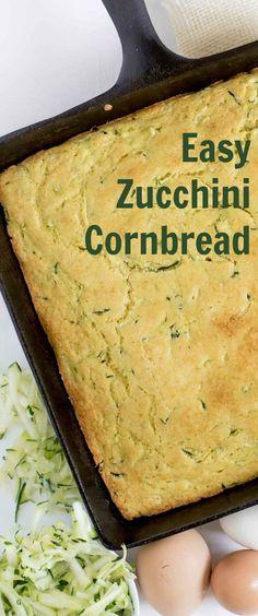 The Best Easy Zucchini Cornbread — Bless this Mess #cornbread #zucchini