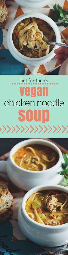 vegan chicken noodle soup | RECIPE on hotforfoodblog.com