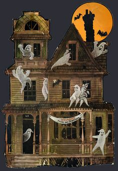 Haunted House Halloween Decoration By Secretfunspot Retro Halloween, Spooky Halloween, Vintage Halloween Decorations, Halloween Prints, Halloween Haunted Houses, Halloween Pictures, Holidays Halloween, Halloween Themes, Happy Halloween