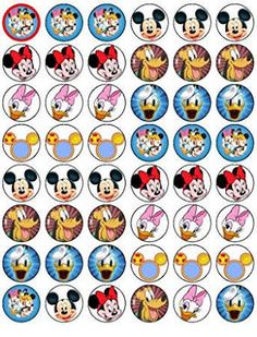48 Mickey Mouse and Friends Cupcake Toppers by Coyote Party and print Mickey Mouse Classroom, Mickey Mouse Clubhouse Birthday, Mickey Mouse Birthday, Mickey Mouse Cupcakes, Red Minnie Mouse, Mickey Mouse And Friends, Festa Mickey Baby, Mickey Party, Disney Mickey
