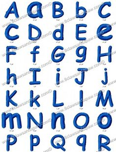 The Comic embroidery alphabet comes in 4 different sizes. 1 Inch Satin 2 Inch Satin 3 Inch Plain  4 Inch Plain 26 Upper Case Letters 26 Lower Case Letters 208 Individual Files