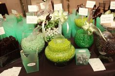 We love this candy bar filled with varied shades of green