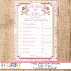 Baby Shower Games-The Price is Right- Shabby Chic Theme with Pink Roses- Printable Game Cards