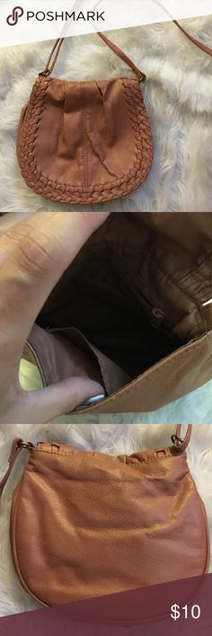 Tan Side Bag Worn a few times. Has a thin line from pen mark on exterior (front) of bag as shown in photo. Forever 21 Bags