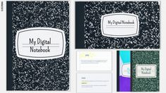 Digital Notebooks for Google Slides or PowerPoint | SlidesMania Powerpoint Lesson, Powerpoint Themes, Microsoft Powerpoint, Writing Notebook, Notebook Paper, Ppr, Interactive Notebooks, Presentation Templates, How To Introduce Yourself