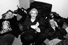 NEW YORK - 1994: Tre Cool, Billie Joe Armstrong and Mike Dirnt) laugh while posing for a portrait backstage at Madison Square
