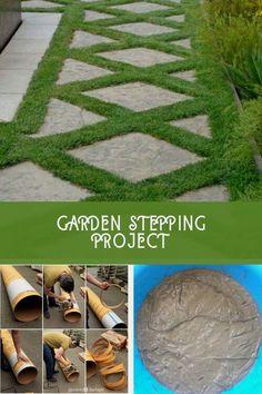 Amazing DIY Garden Stepping Stone Ideas #gardensteppingstones Stepping Stone Pathway, Concrete Stepping Stones, Garden Steps, Easy Garden, Amazing Gardens, Beautiful Gardens, Walkways, The Incredibles, Gardening