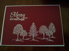 A really easy Christmas card to make using Stampin Up stamps from Lots of Joy and Lovely as a Tree, the card is from Stampin Up Merry Moments pack, embossed using the White Embossing Powder. Jane Richardson, Stampin'Up demonstrator, Lara, Victoria
