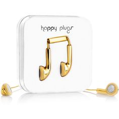 Happy Plugs Made to Order 18K Gold Earbuds ($14,500) ❤ liked on Polyvore featuring accessories, tech accessories, happy plugs and earphones earbuds