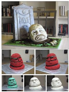 How to make a sculpted zombie cake  http://www.instructables.com/id/How-to-make-a-sculpted-zombie-cake/?ALLSTEPS