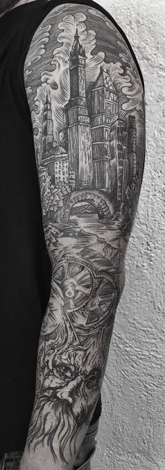 Black and grey engraving style tattoo by Jason Schroder mrincognitotattoo@gmail.com