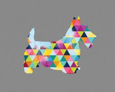 Scottish Terrier Dog Breed Print Poster grey gray geometric Dog Pet Design Bright Colorful Colourful home decor present gift Scottie scotty