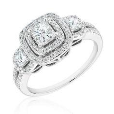 Forever Beautiful Princess Three-Diamond Halo Engagement Ring 1ctw - Item 19356757 | REEDS Jewelers