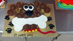 Puppy cupcake cake